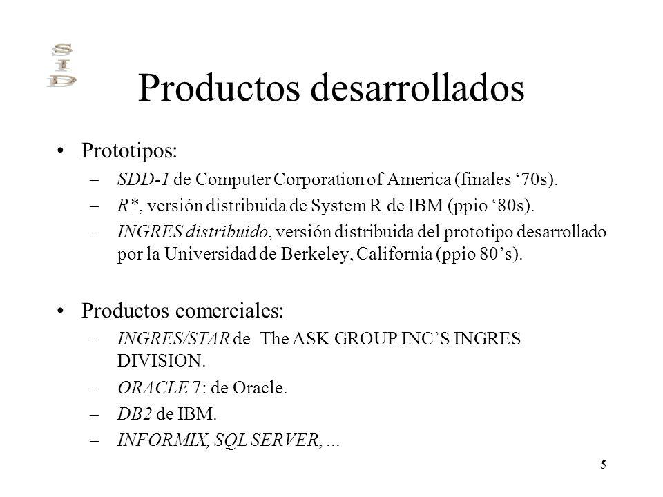 5 Productos desarrollados Prototipos: –SDD-1 de Computer Corporation of America (finales 70s). –R*, versión distribuida de System R de IBM (ppio 80s).