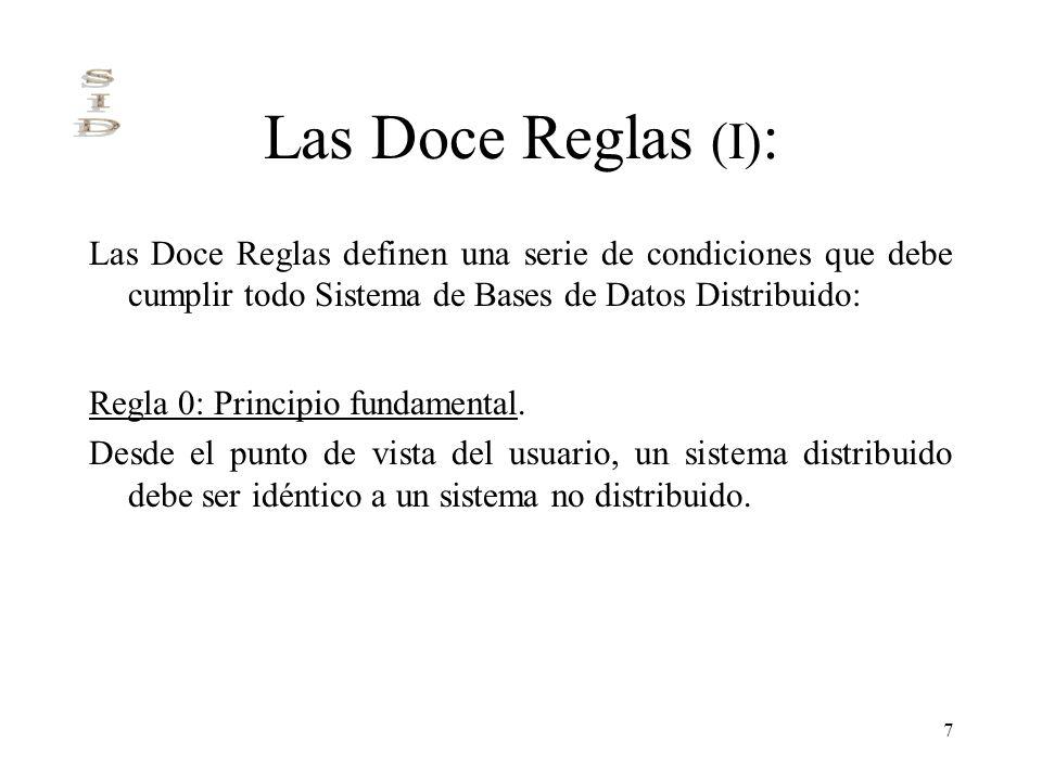 7 Las Doce Reglas (I) : Las Doce Reglas definen una serie de condiciones que debe cumplir todo Sistema de Bases de Datos Distribuido: Regla 0: Princip