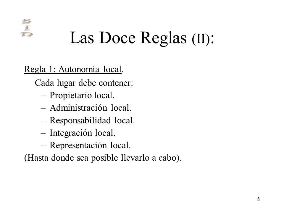 8 Las Doce Reglas (II) : Regla 1: Autonomía local. Cada lugar debe contener: –Propietario local. –Administración local. –Responsabilidad local. –Integ