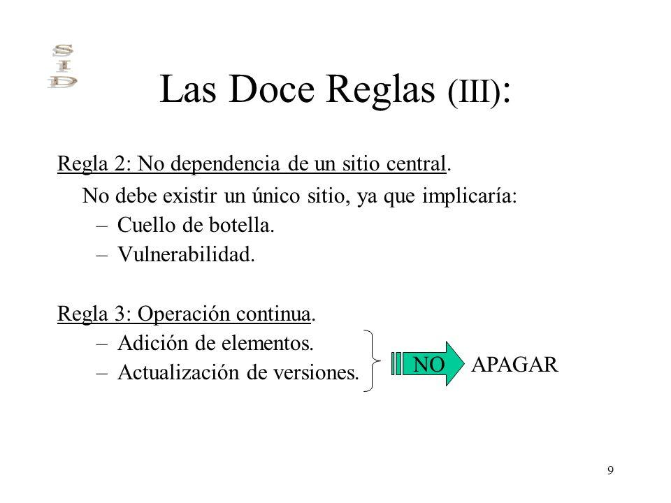 9 Las Doce Reglas (III) : Regla 2: No dependencia de un sitio central. No debe existir un único sitio, ya que implicaría: –Cuello de botella. –Vulnera