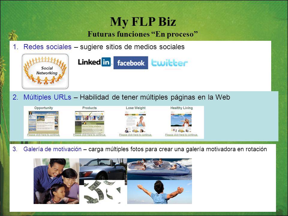 My FLP Biz Futuras funciones En proceso 1.Redes sociales – sugiere sitios de medios sociales Social Networking 2.Múltiples URLs – Habilidad de tener m