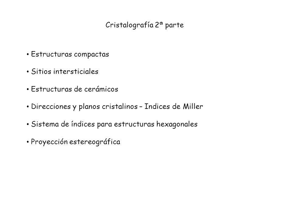 Cristalografía 2ª parte Estructuras compactas Sitios intersticiales Estructuras de cerámicos Direcciones y planos cristalinos – Indices de Miller Sist