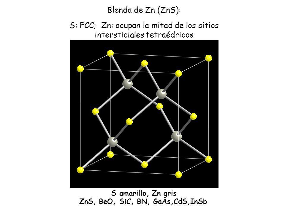 S amarillo, Zn gris ZnS, BeO, SiC, BN, GaAs,CdS,InSb Blenda de Zn (ZnS): S: FCC; Zn: ocupan la mitad de los sitios intersticiales tetraédricos