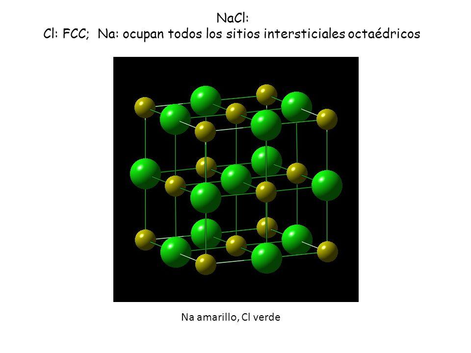 Na amarillo, Cl verde NaCl: Cl: FCC; Na: ocupan todos los sitios intersticiales octaédricos