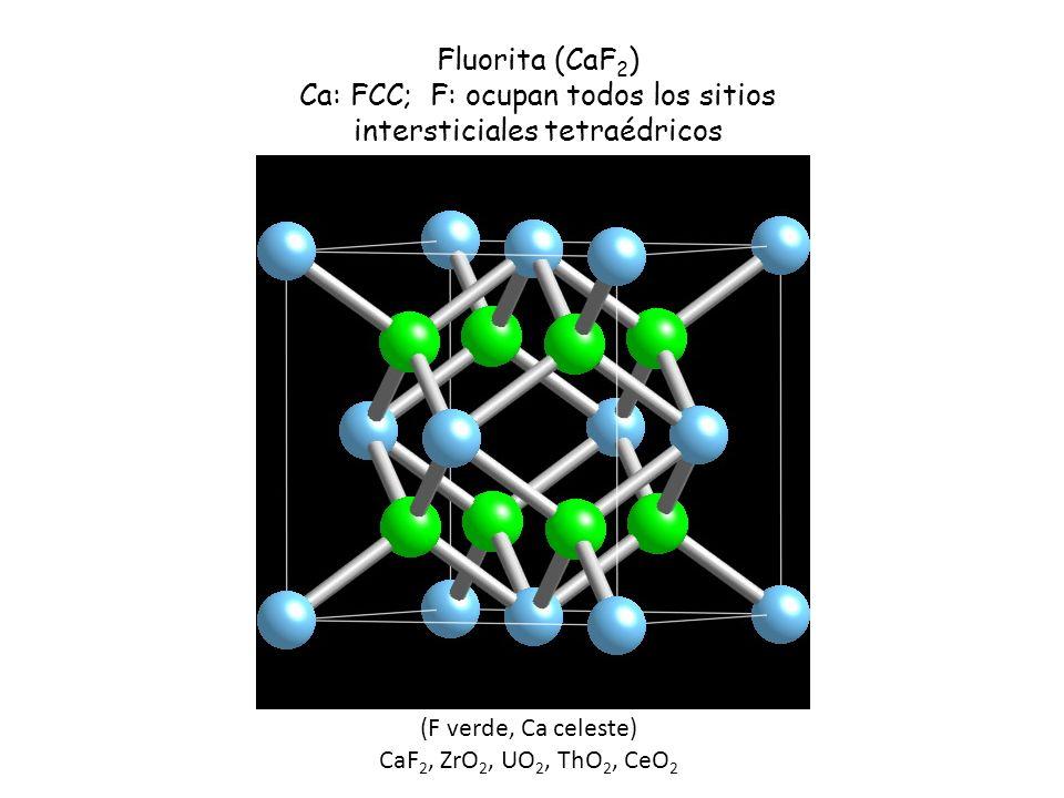 (F verde, Ca celeste) CaF 2, ZrO 2, UO 2, ThO 2, CeO 2 Fluorita (CaF 2 ) Ca: FCC; F: ocupan todos los sitios intersticiales tetraédricos