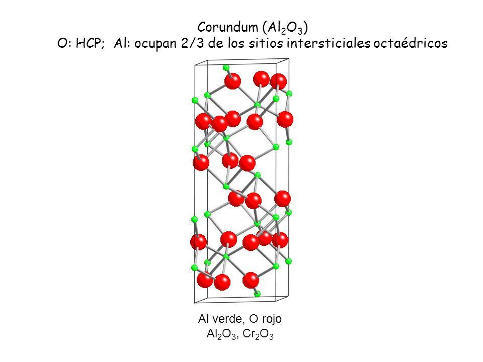 Al verde, O rojo Al 2 O 3, Cr 2 O 3 Corundum (Al 2 O 3 ) O: HCP; Al: ocupan 2/3 de los sitios intersticiales octaédricos