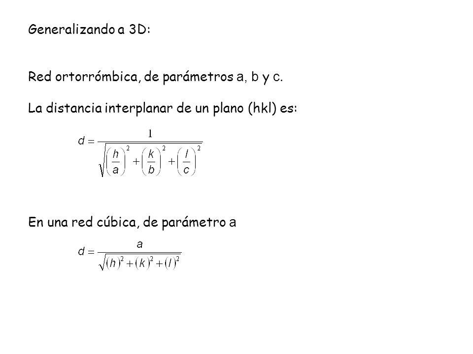 Generalizando a 3D: Red ortorrómbica, de parámetros a, b y c. La distancia interplanar de un plano (hkl) es: En una red cúbica, de parámetro a