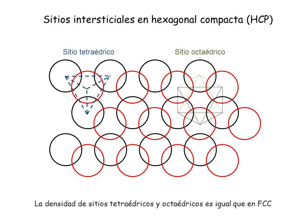Sitios intersticiales en hexagonal compacta (HCP) Sitio tetraédricoSitio octaédrico La densidad de sitios tetraédricos y octaédricos es igual que en F