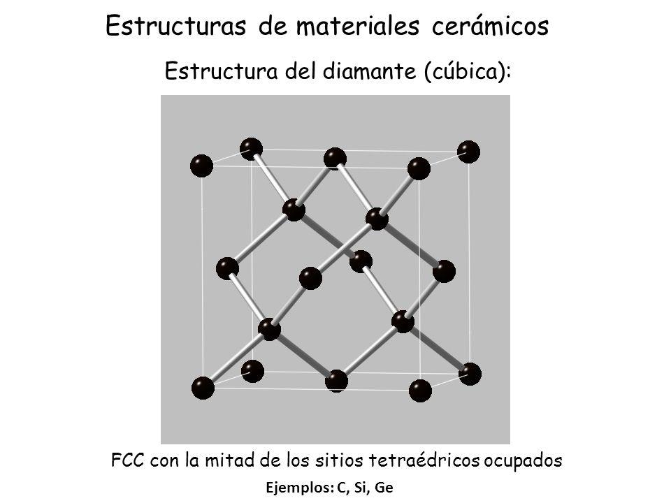 Ejemplos: C, Si, Ge Estructura del diamante (cúbica): FCC con la mitad de los sitios tetraédricos ocupados Estructuras de materiales cerámicos