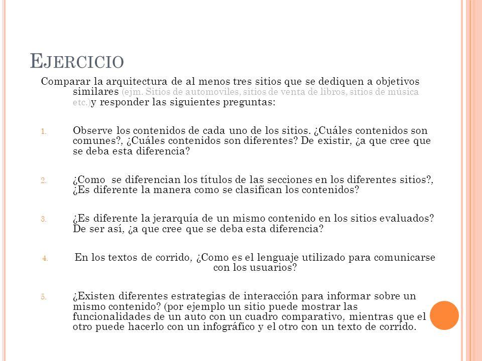 E JERCICIO Comparar la arquitectura de al menos tres sitios que se dediquen a objetivos similares (ejm.