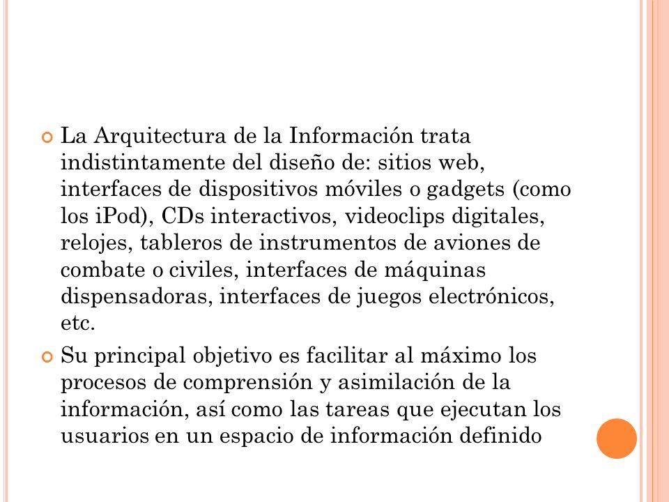 La Arquitectura de la Información trata indistintamente del diseño de: sitios web, interfaces de dispositivos móviles o gadgets (como los iPod), CDs i