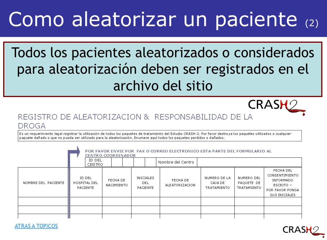 Todos los pacientes aleatorizados o considerados para aleatorización deben ser registrados en el archivo del sitio Como aleatorizar un paciente (2) ATRAS A TOPICOS