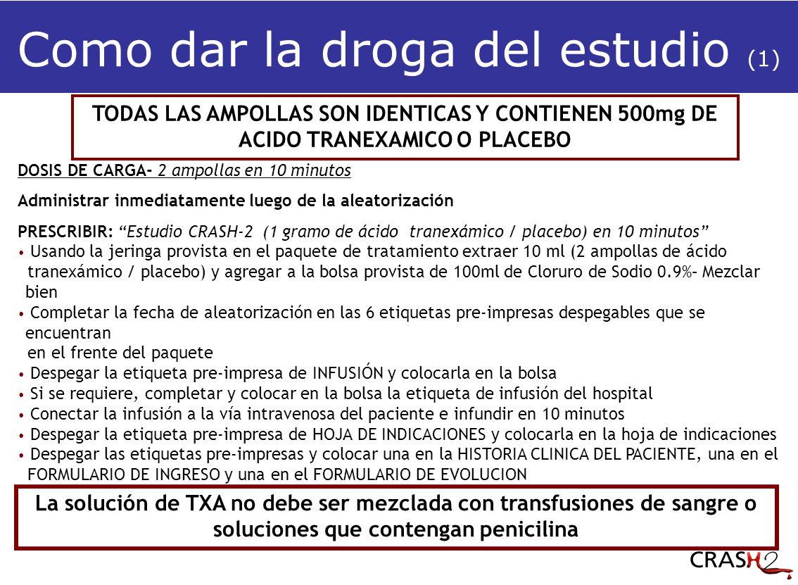 Como dar la droga del estudio (1) TODAS LAS AMPOLLAS SON IDENTICAS Y CONTIENEN 500mg DE ACIDO TRANEXAMICO O PLACEBO DOSIS DE CARGA- 2 ampollas en 10 minutos Administrar inmediatamente luego de la aleatorización PRESCRIBIR: Estudio CRASH-2 (1 gramo de ácido tranexámico / placebo) en 10 minutos Usando la jeringa provista en el paquete de tratamiento extraer 10 ml (2 ampollas de ácido tranexámico / placebo) y agregar a la bolsa provista de 100ml de Cloruro de Sodio 0.9%– Mezclar bien Completar la fecha de aleatorización en las 6 etiquetas pre-impresas despegables que se encuentran en el frente del paquete Despegar la etiqueta pre-impresa de INFUSIÓN y colocarla en la bolsa Si se requiere, completar y colocar en la bolsa la etiqueta de infusión del hospital Conectar la infusión a la vía intravenosa del paciente e infundir en 10 minutos Despegar la etiqueta pre-impresa de HOJA DE INDICACIONES y colocarla en la hoja de indicaciones Despegar las etiquetas pre-impresas y colocar una en la HISTORIA CLINICA DEL PACIENTE, una en el FORMULARIO DE INGRESO y una en el FORMULARIO DE EVOLUCION La solución de TXA no debe ser mezclada con transfusiones de sangre o soluciones que contengan penicilina