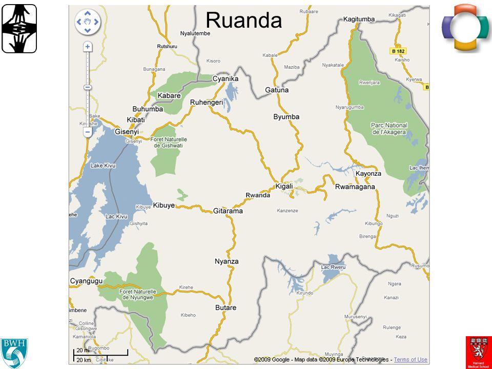 OpenMRS en sitios de PIH en Rwanda Se usa en los 12 establecimientos de PIH 8 establecimientos tienen su propio servidor –6 establecimientos remotos tienen copia sincronizada de toda la base de datos Registración, datos clínicos y de laboratorio –TB, VIH, y ahora pacientes con problemas cardiacos –Más de 10,000 pacientes (Sep.