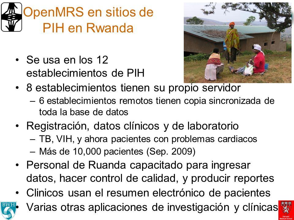 Componentes de Arquitectura de eSalud Integrada en Ruanda RCE OpenMRS Sistema de Vigilancia TRACNet Sistema de Farmacia PIH Registración y seguro Mutuelle Sistema Móviles OpenROSA Radiología / Telemedicina Sistema de Laboratorio PIH-Lab-system IXF/SDMX HL7 HL7.