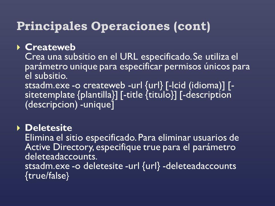 Principales Operaciones (cont) Createweb Crea una subsitio en el URL especificado. Se utiliza el parámetro unique para especificar permisos únicos par