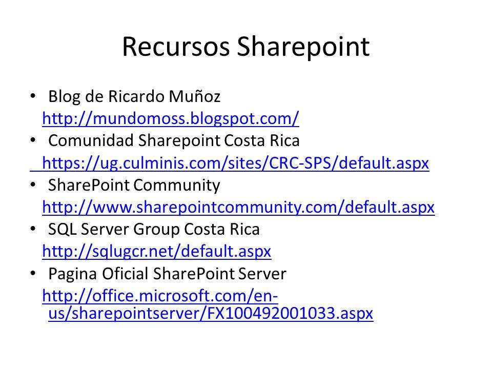 Recursos Sharepoint Blog de Ricardo Muñoz http://mundomoss.blogspot.com/ Comunidad Sharepoint Costa Rica https://ug.culminis.com/sites/CRC-SPS/default