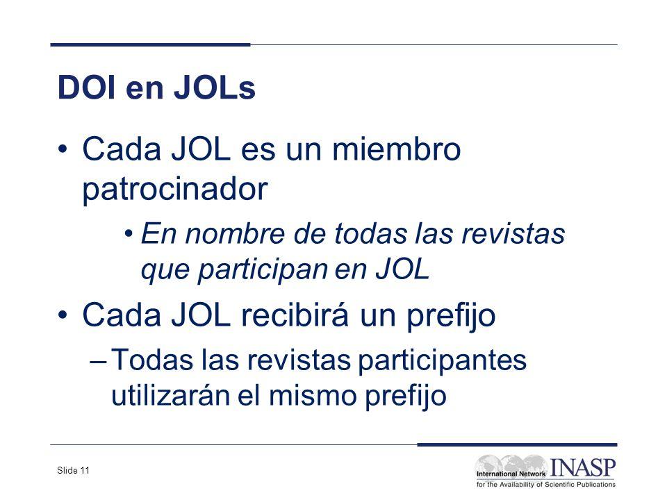 Slide 11 DOI en JOLs Cada JOL es un miembro patrocinador En nombre de todas las revistas que participan en JOL Cada JOL recibirá un prefijo –Todas las