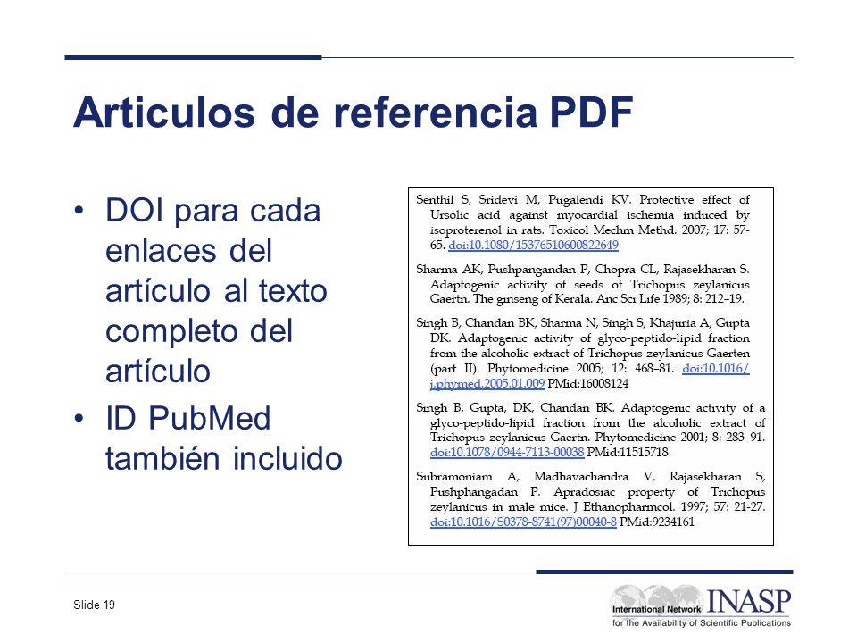 Slide 19 Articulos de referencia PDF DOI para cada enlaces del artículo al texto completo del artículo ID PubMed también incluido