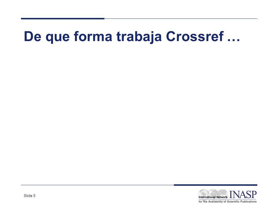 Slide 5 De que forma trabaja Crossref …