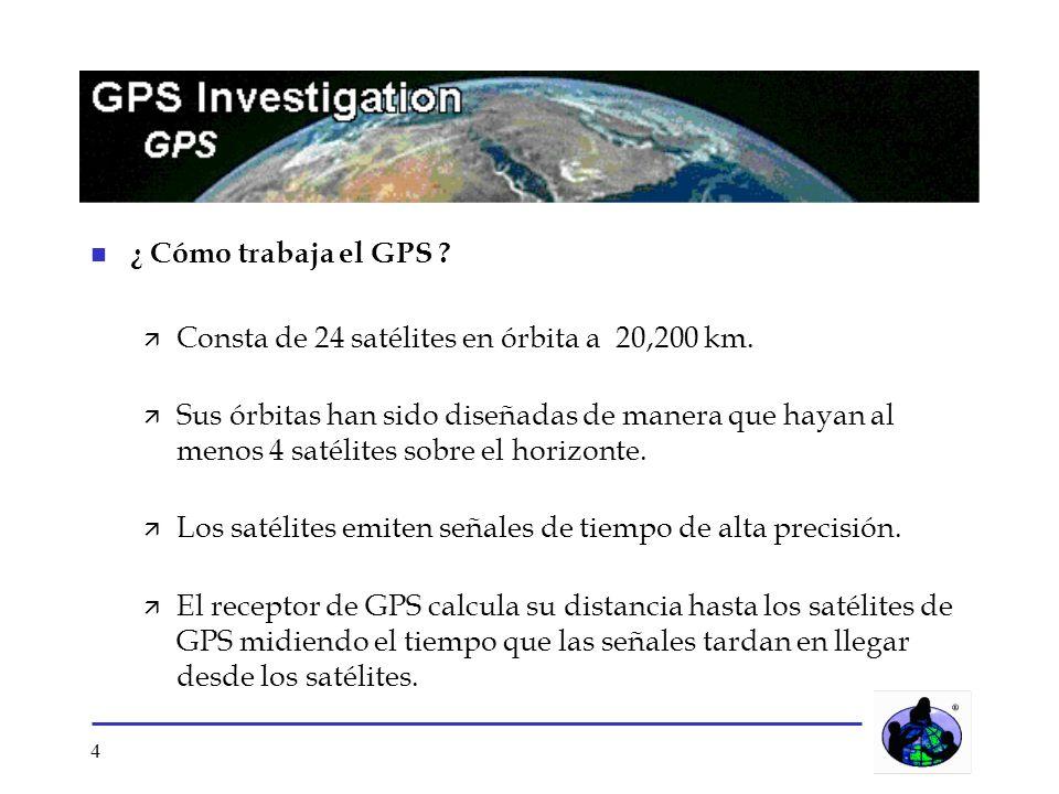 4 n ¿ Cómo trabaja el GPS ? ä Consta de 24 satélites en órbita a 20,200 km. ä Sus órbitas han sido diseñadas de manera que hayan al menos 4 satélites