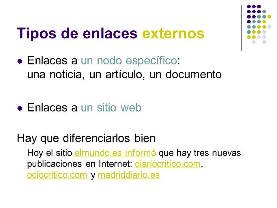 Tipos de enlaces externos Enlaces a un nodo específico: una noticia, un artículo, un documento Enlaces a un sitio web Hay que diferenciarlos bien Hoy
