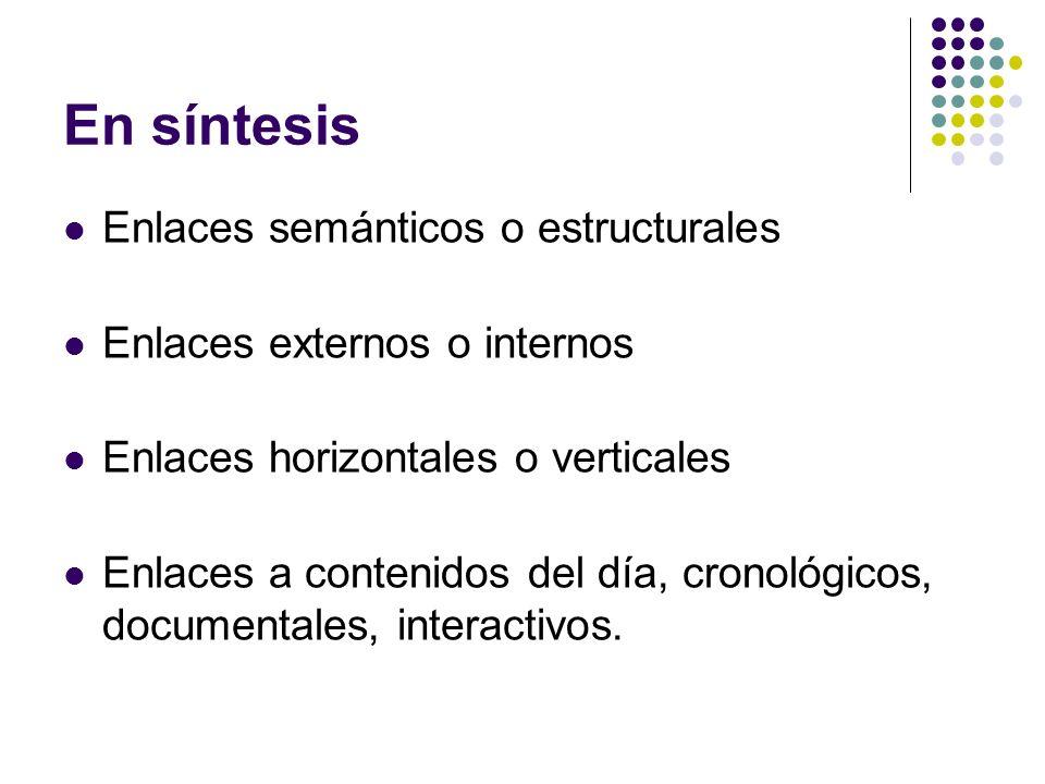 En síntesis Enlaces semánticos o estructurales Enlaces externos o internos Enlaces horizontales o verticales Enlaces a contenidos del día, cronológico