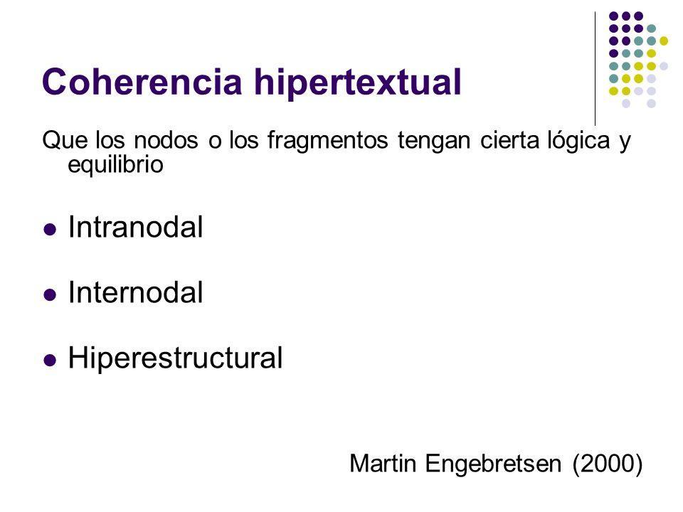 Coherencia hipertextual Que los nodos o los fragmentos tengan cierta lógica y equilibrio Intranodal Internodal Hiperestructural Martin Engebretsen (20