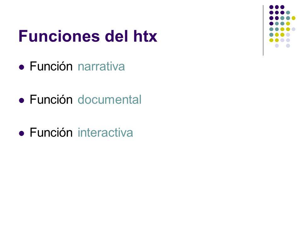Funciones del htx Función narrativa Función documental Función interactiva