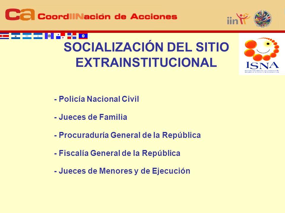 ELEMENTOS POSITIVOS INSTRUMENTO ÁGIL PARA RESOLUCIÓN DE SITUACIONES QUE VULNERAN DERECHOS DE LA NIÑEZ SENSIBIZACIÓN Y CAPACITACIÓN PREVIA APOYO DE LOS MANDOS DE DIRECCIÓN Y APROPIACIÓN DEL SITIO COMUNICACIÓN ÁGIL Y PERMANENTE CON EL IIN DISPONIBILIDAD DE EQUIPO Y EL ACCESO A INTERNET ELEMENTOS NEGATIVOS LIMITACIÓN PARA LA IDENTIFICACIÓN DE CASOS VISTO POR LOS ACTORES COMO UNA TAREA ADICIONAL NO RESPUESTA ÁGIL ESCEPTICISMO