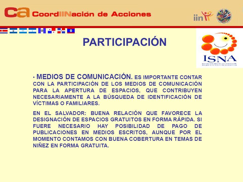 PARTICIPACIÓN MEDIOS DE COMUNICACIÓN.