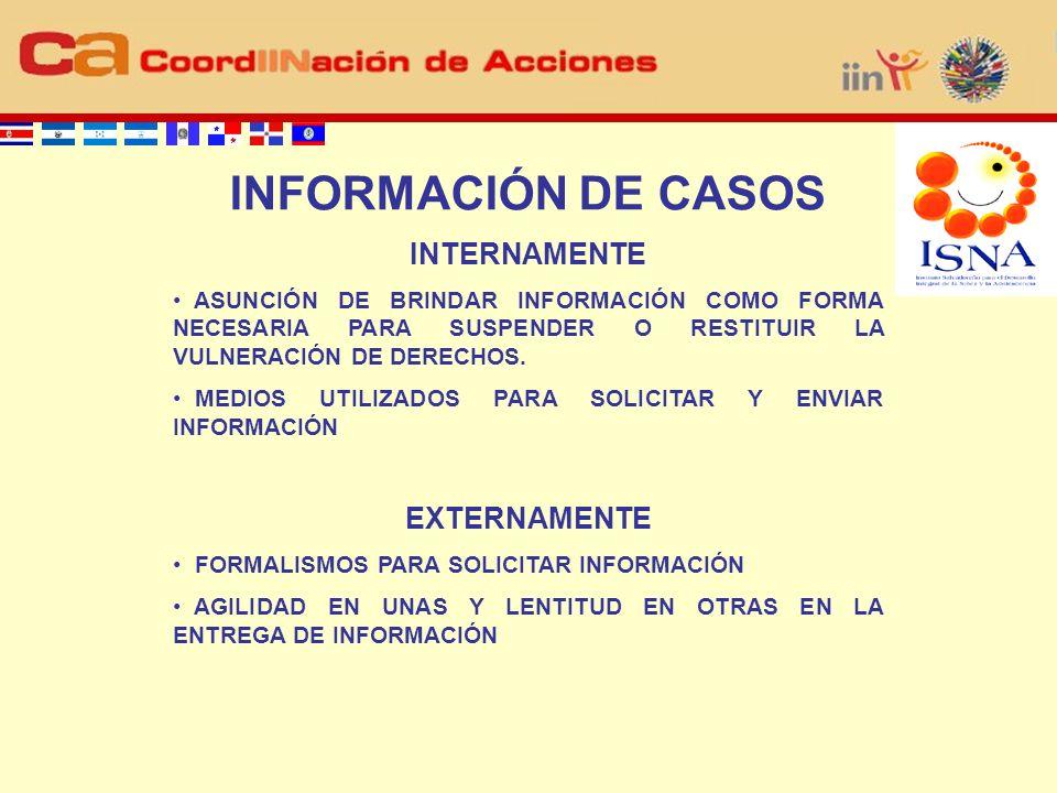 INFORMACIÓN DE CASOS INTERNAMENTE ASUNCIÓN DE BRINDAR INFORMACIÓN COMO FORMA NECESARIA PARA SUSPENDER O RESTITUIR LA VULNERACIÓN DE DERECHOS.