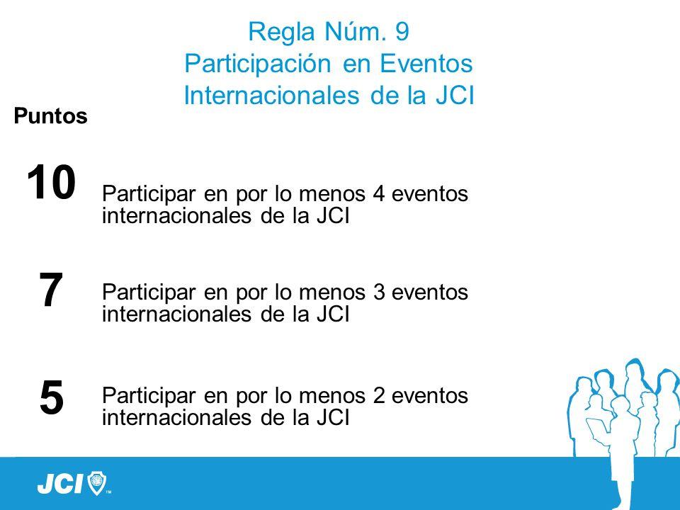 Regla Núm. 9 Participación en Eventos Internacionales de la JCI Puntos 10 7 5 Participar en por lo menos 4 eventos internacionales de la JCI Participa