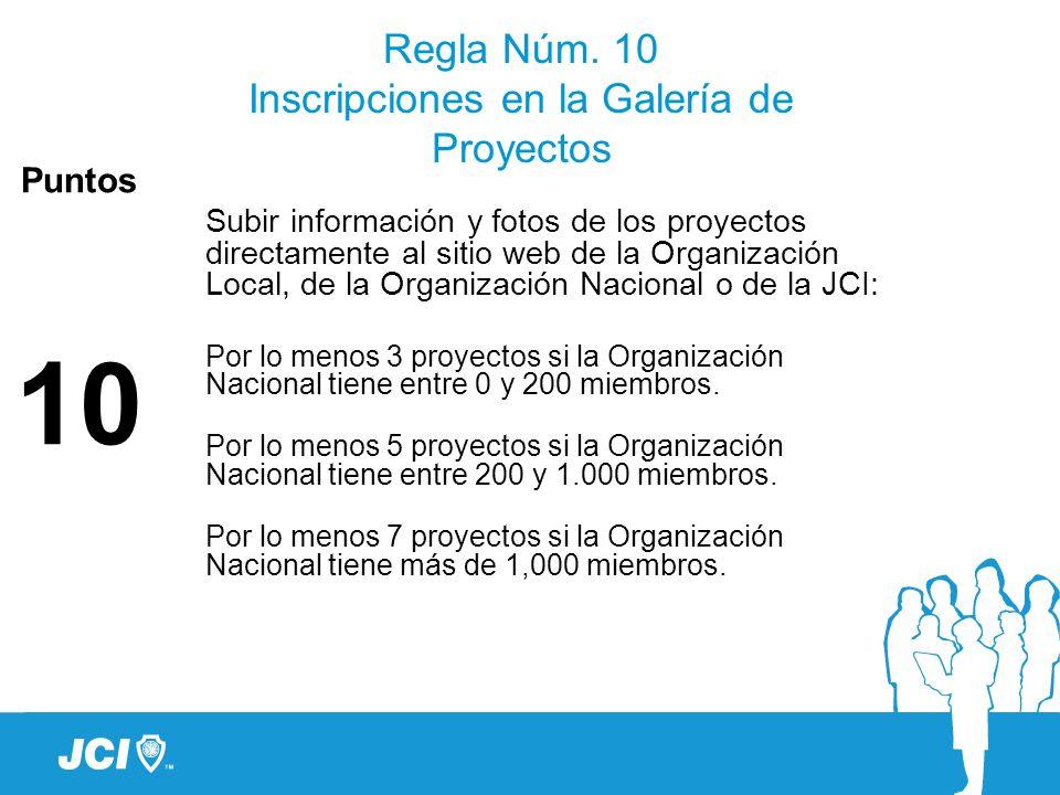 Regla Núm. 10 Inscripciones en la Galería de Proyectos Puntos 10 Subir información y fotos de los proyectos directamente al sitio web de la Organizaci