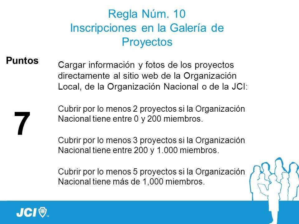 Regla Núm. 10 Inscripciones en la Galería de Proyectos Cargar información y fotos de los proyectos directamente al sitio web de la Organización Local,