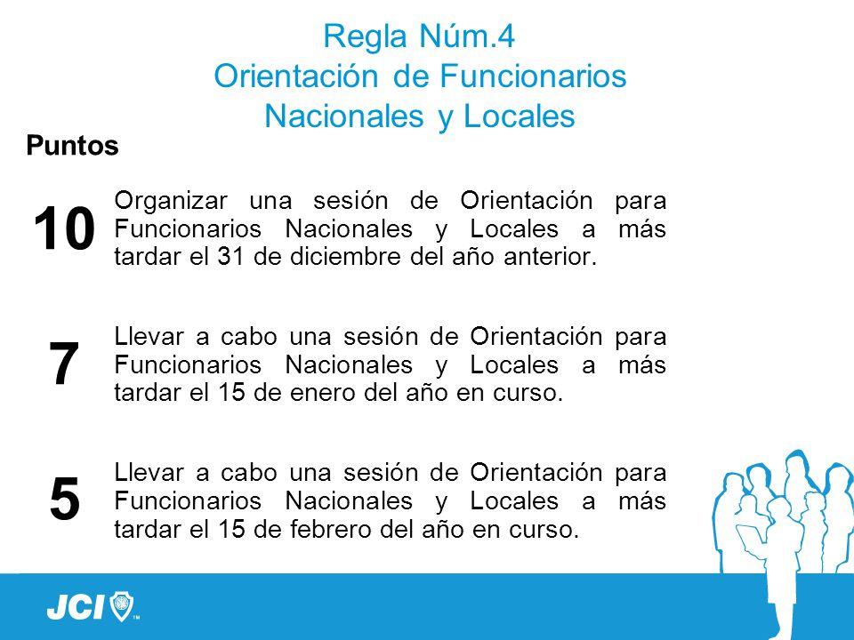 Regla Núm.4 Orientación de Funcionarios Nacionales y Locales Puntos 10 7 5 Organizar una sesión de Orientación para Funcionarios Nacionales y Locales