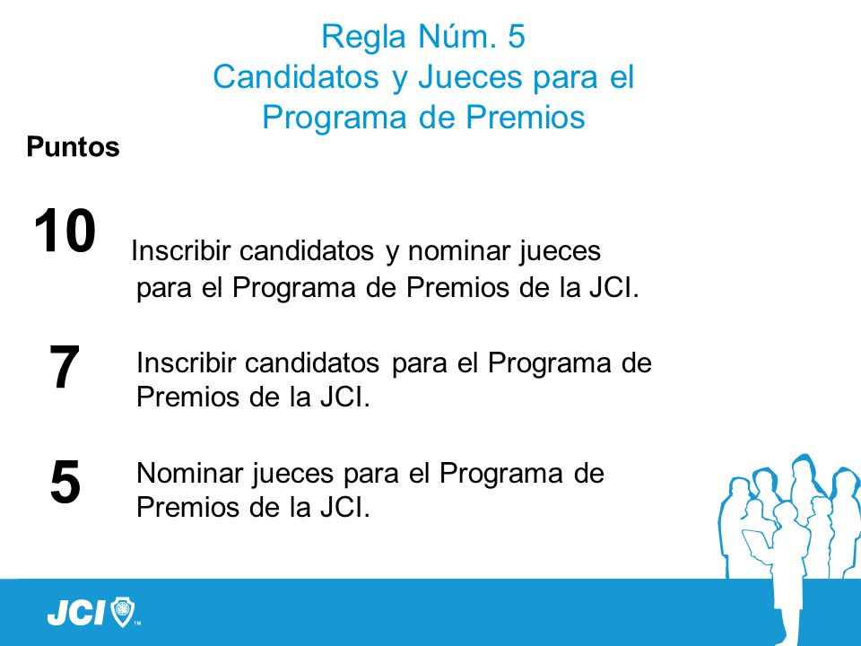 Regla Núm. 5 Candidatos y Jueces para el Programa de Premios Puntos 10 7 5 Inscribir candidatos y nominar jueces para el Programa de Premios de la JCI