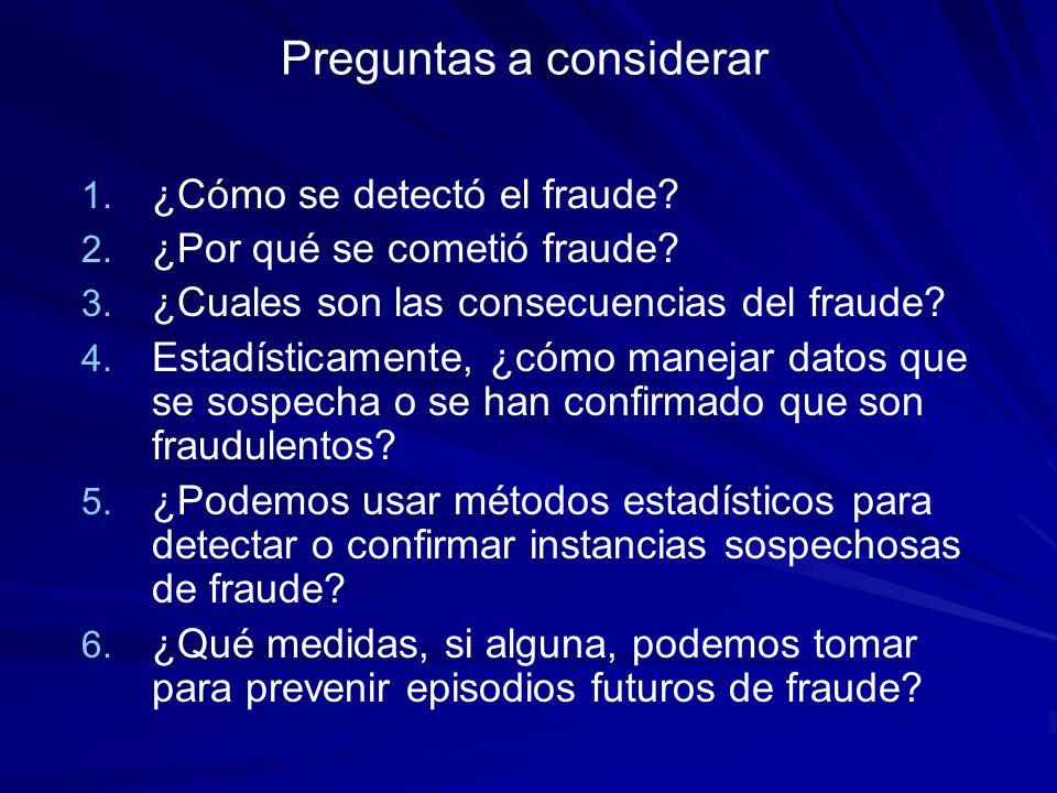 Preguntas a considerar 1. 1. ¿Cómo se detectó el fraude? 2. 2. ¿Por qué se cometió fraude? 3. 3. ¿Cuales son las consecuencias del fraude? 4. 4. Estad