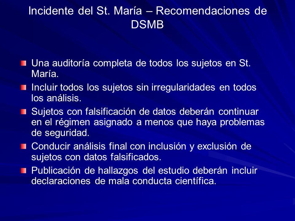 Incidente del St. María – Recomendaciones de DSMB Una auditoría completa de todos los sujetos en St. María. Incluir todos los sujetos sin irregularida