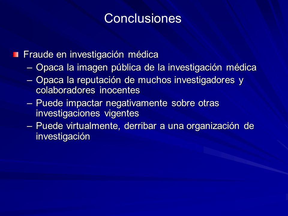 Conclusiones Fraude en investigación médica –Opaca la imagen pública de la investigación médica –Opaca la reputación de muchos investigadores y colabo