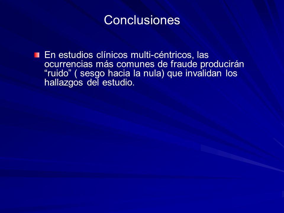 Conclusiones En estudios clínicos multi-céntricos, las ocurrencias más comunes de fraude producirán ruido ( sesgo hacia la nula) que invalidan los hal