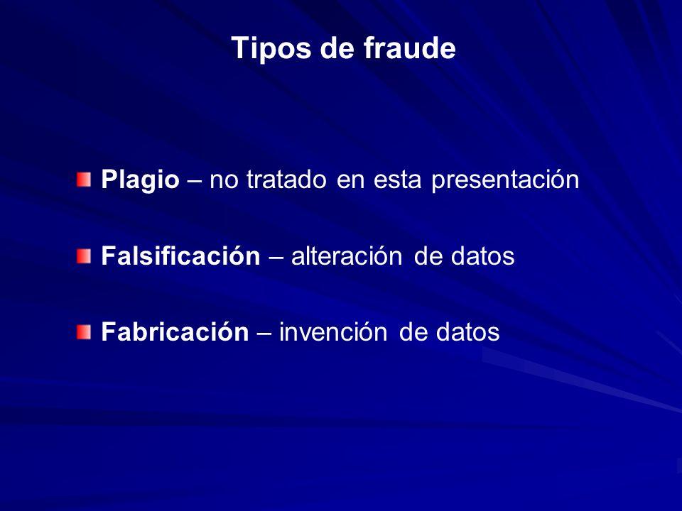 Tipos de fraude Plagio – no tratado en esta presentación Falsificación – alteración de datos Fabricación – invención de datos