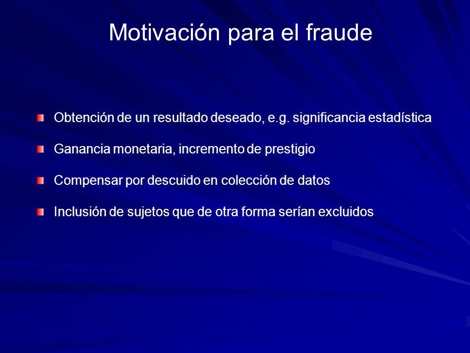 Motivación para el fraude Obtención de un resultado deseado, e.g. significancia estadística Ganancia monetaria, incremento de prestigio Compensar por