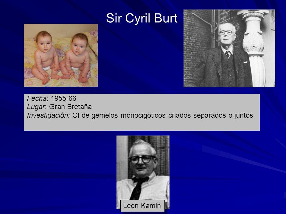 Sir Cyril Burt Fecha: 1955-66 Lugar: Gran Bretaña Investigación: CI de gemelos monocigóticos criados separados o juntos Leon Kamin