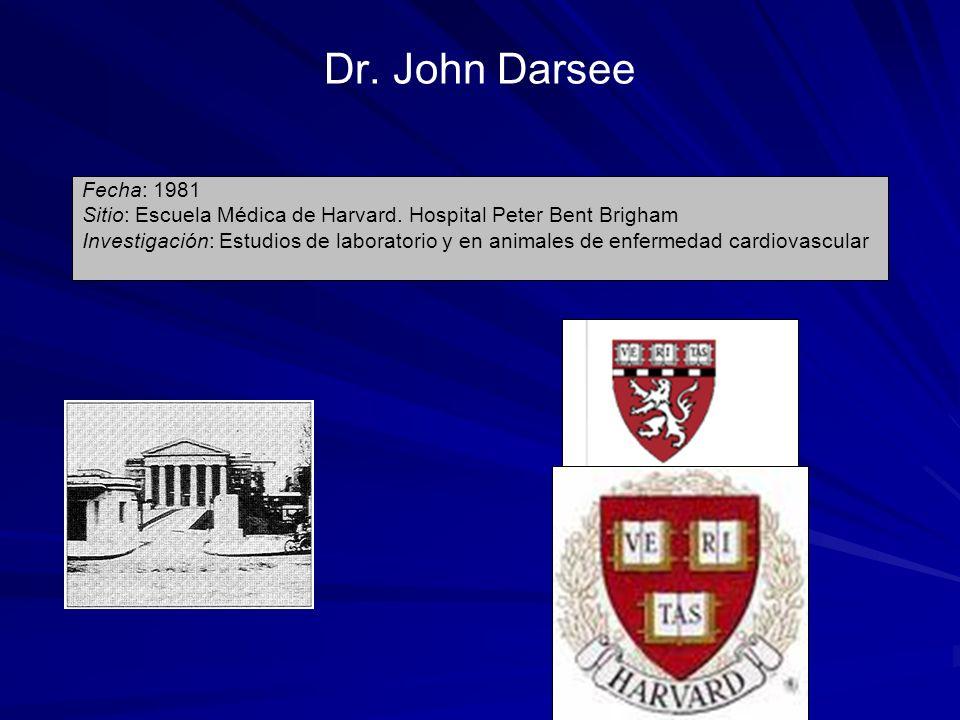 Dr. John Darsee Fecha: 1981 Sitio: Escuela Médica de Harvard. Hospital Peter Bent Brigham Investigación: Estudios de laboratorio y en animales de enfe