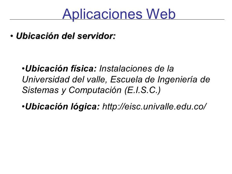 Aplicaciones Web Ubicación del servidor: Ubicación del servidor: Ubicación física: Instalaciones de la Universidad del valle, Escuela de Ingeniería de