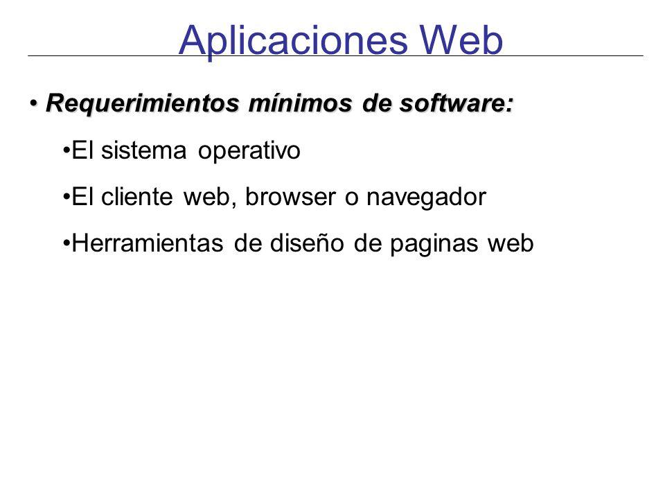 Aplicaciones Web Requerimientos mínimos de software: Requerimientos mínimos de software: El sistema operativo El cliente web, browser o navegador Herr