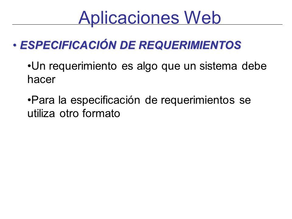 Aplicaciones Web ESPECIFICACIÓN DE REQUERIMIENTOS ESPECIFICACIÓN DE REQUERIMIENTOS Un requerimiento es algo que un sistema debe hacer Para la especifi