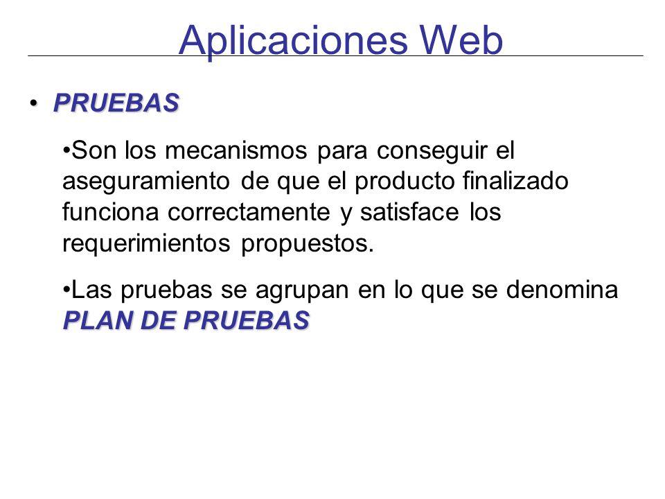 Aplicaciones Web PRUEBAS PRUEBAS Son los mecanismos para conseguir el aseguramiento de que el producto finalizado funciona correctamente y satisface l