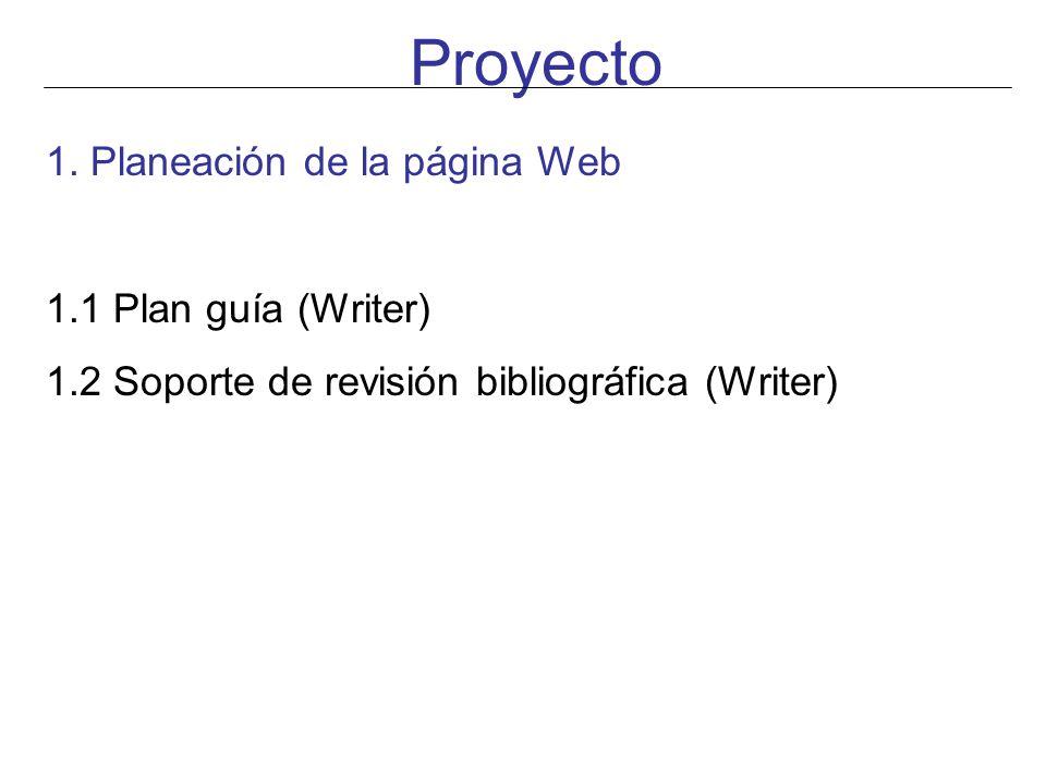 1. Planeación de la página Web 1.1 Plan guía (Writer) 1.2 Soporte de revisión bibliográfica (Writer)
